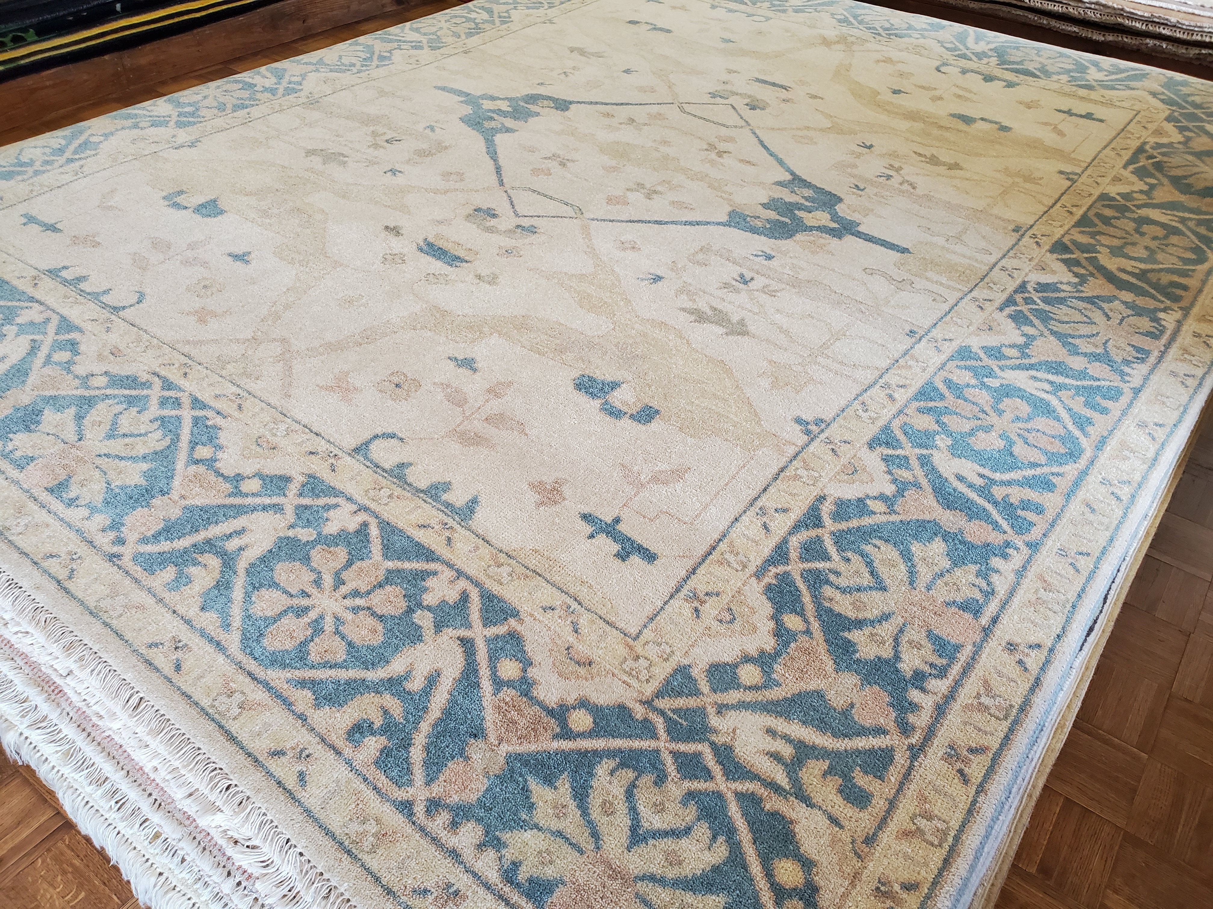 Oushak Ocean Blues...  Vintage Oushak Oriental Rug  8x10  $1175 reduce from $3950 Call 205-870-4444 or drop by if it's for you!  Please share! 😉 #nilipourorientalrugs #MayDayDeal #familybusiness #since1972 #fullservice #shoplocal #happycustomer #artyoucantreadon #orientalrug #rug #arearug #naturalfibers #wholesaleprices #directimporting #affordableluxury #functionalrug #practicalrug #appeal #qualityrug #investment #conversationpiece #Lifestyle #rugcleaning #orientalrugcleaning #arearugcleaning