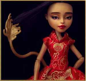 Jinafire Long  OOAK doll Monster High repaint outfit  Chinese