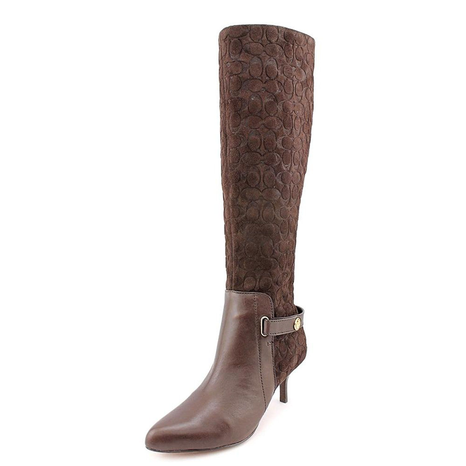 Coach Fara Women Pointed Toe Suede Brown Knee High Boot >>> Awesome product. Click the image : Boots Shoes