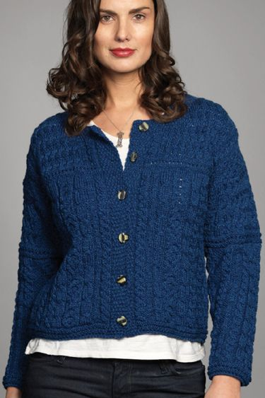 Carraig Donn Irish Aran Wool Sweater Womens Cable Knit Buttoned ...