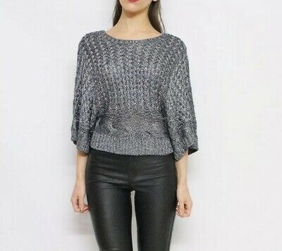 Details about #savingglory THURLEY NWT $200 Chunky Knit Jumper Gunmetal Grey Layering Size S 8 #chunkyknitjumper