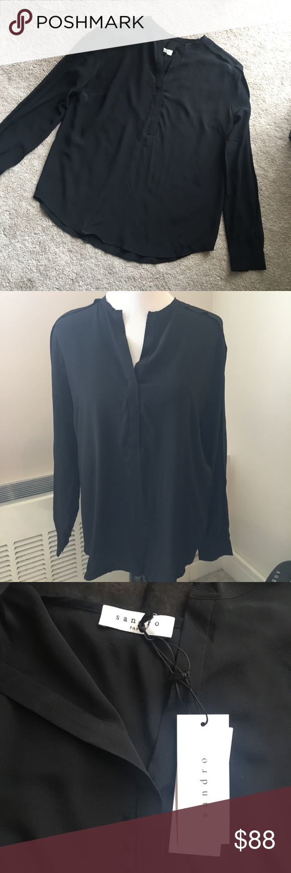 241e1145bb4dfd Sandro Paris Black Silk Blouse New! Size 3 M A jet black silk Sandro Paris  blouse