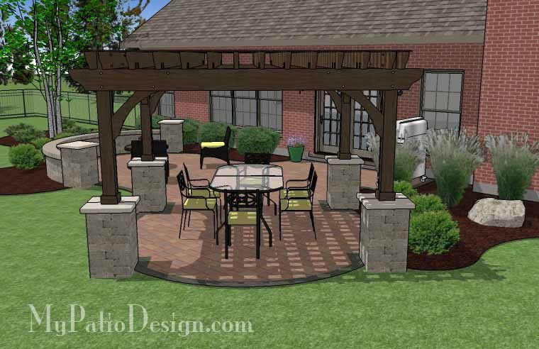 495 Sq Ft Concrete Paver Patio Design With Pergola Patio
