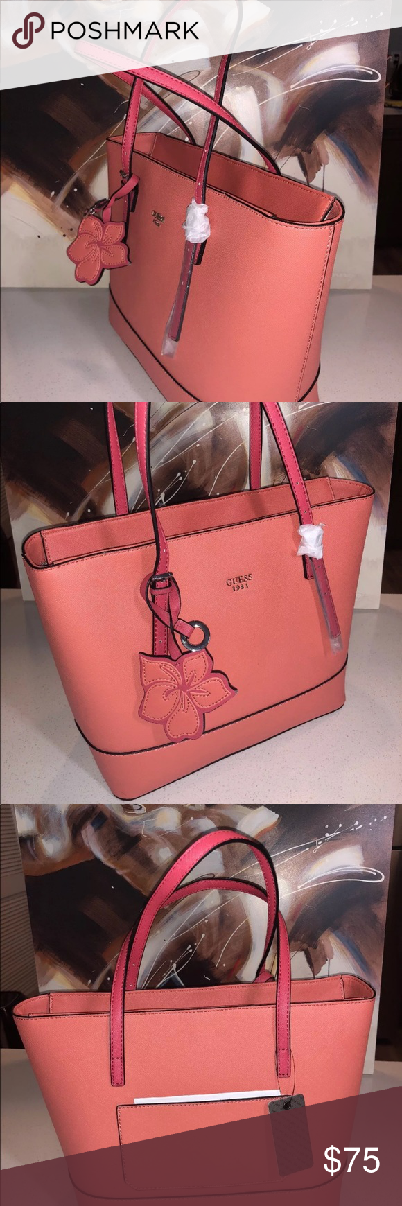 Guess pink clear pink tote bag