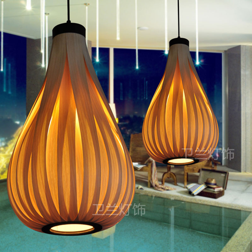 Modern Chinese Style Lantern Drum Rattan Lamps Veneer Lamp Wooden Pendant Light Restaurant Decoration 264 90