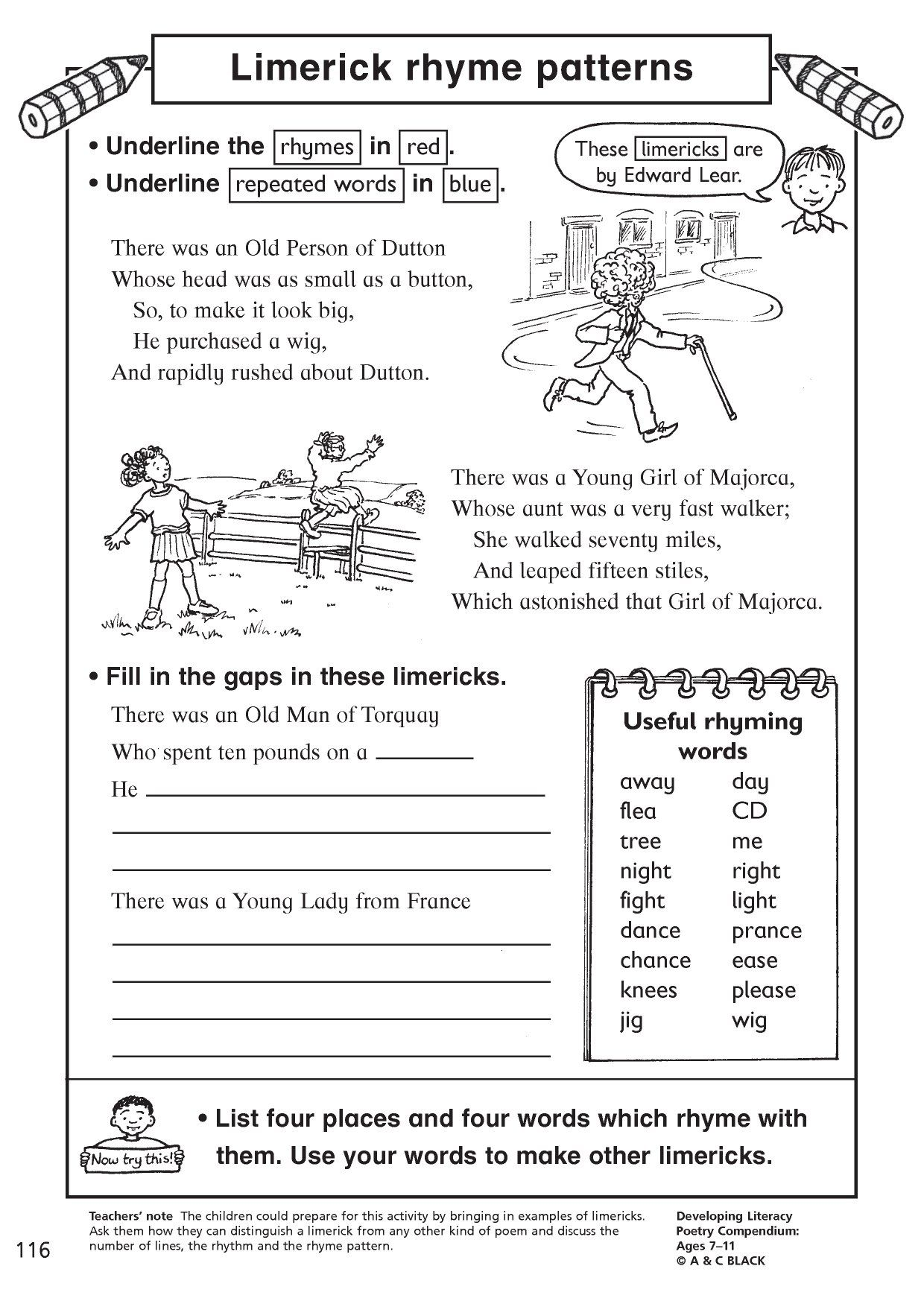Limerick Writing Worksheet   Printable Worksheets and Activities for  Teachers [ 1754 x 1240 Pixel ]