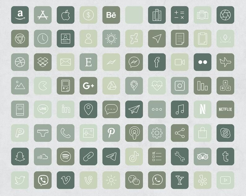 90 Forest Green Aesthetic iOS 14 App Icons / Socia