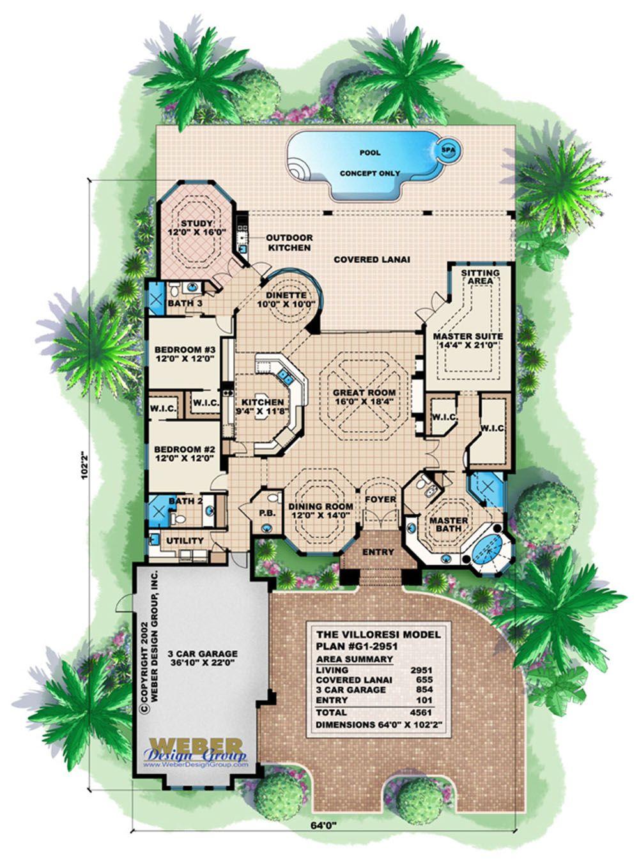 Beach House Plan Luxury Mediterranean Coastal Home Floor Plan Mediterranean Floor Plans House Plans Floor Plans