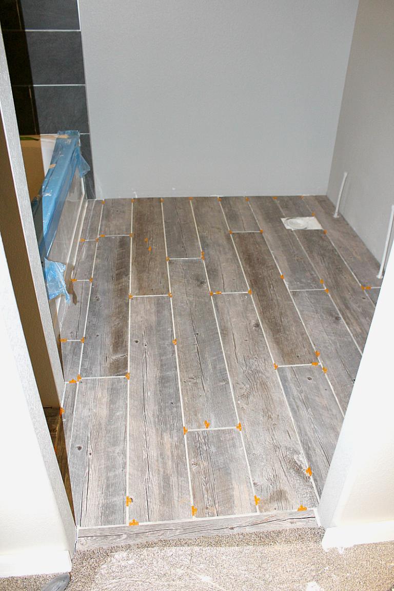 Photo Of Completed Tile Floor Planks In Bathroom With 1 4 Spacers In 2020 Plank Tiles Bathroom Flooring Plank Tile Flooring