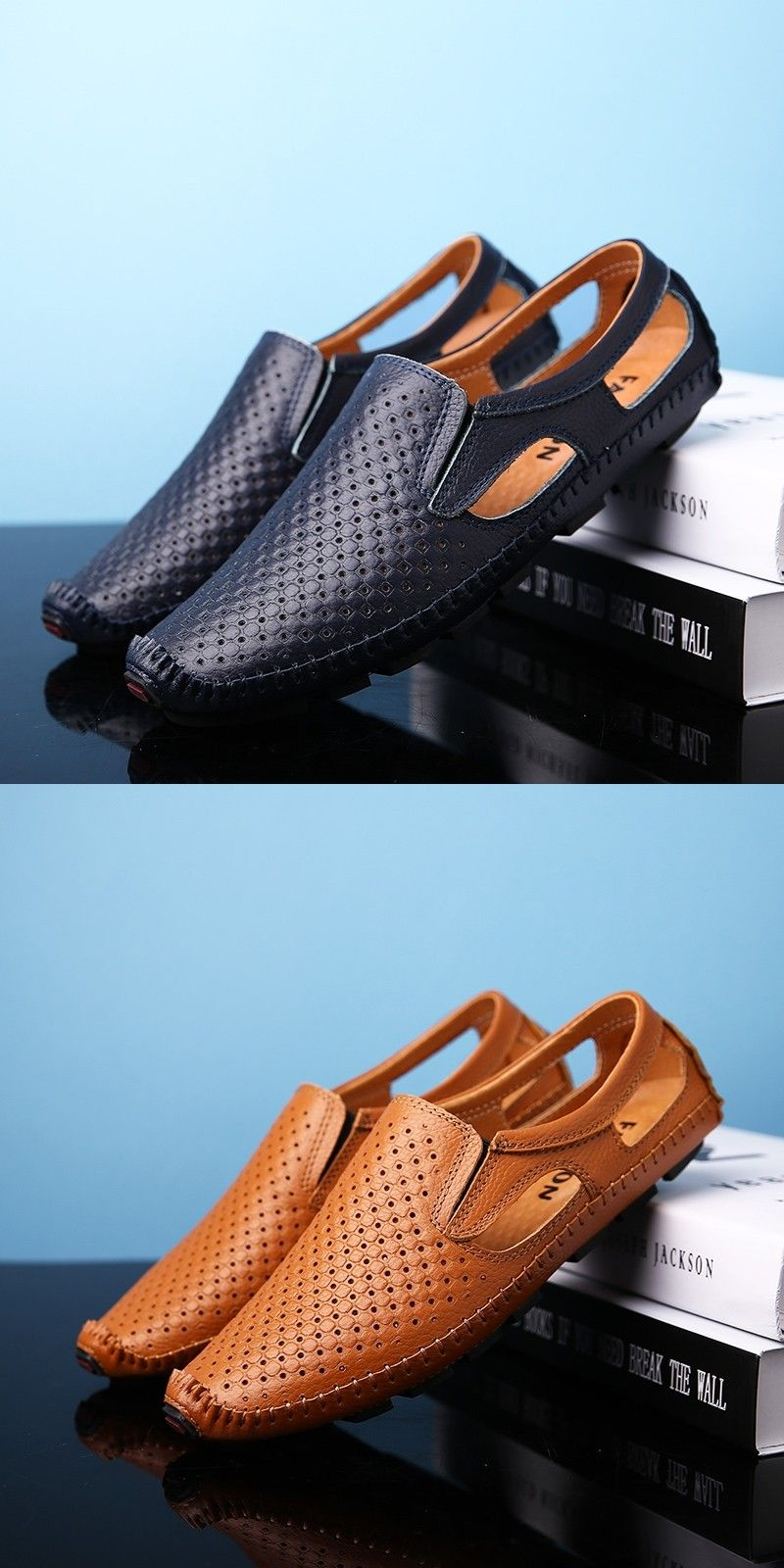 Mens Casual leather hollow out breathable dress driving shoes sandal loafer new