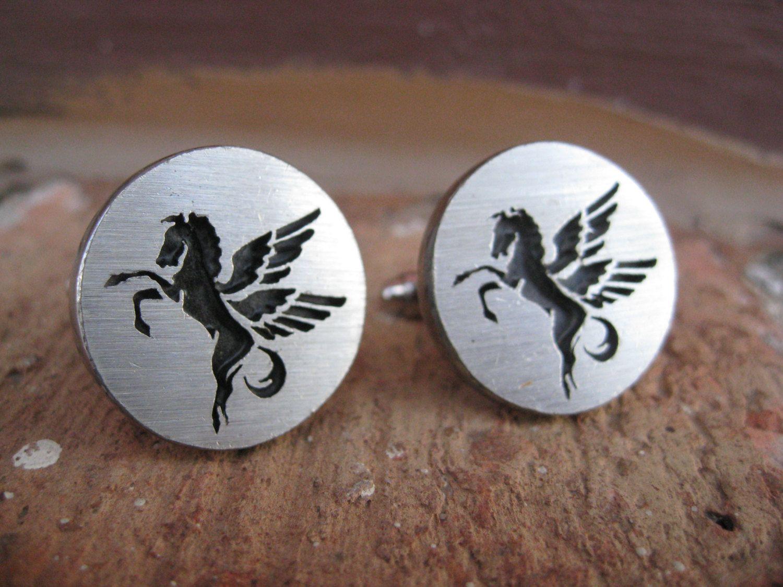 Vintage Pegasus Cufflinks. Silver & Black. Wedding, Mens, Groomsmen Gift, Dad. CUSTOM ORDERS Welcome. $24.00, via Etsy.