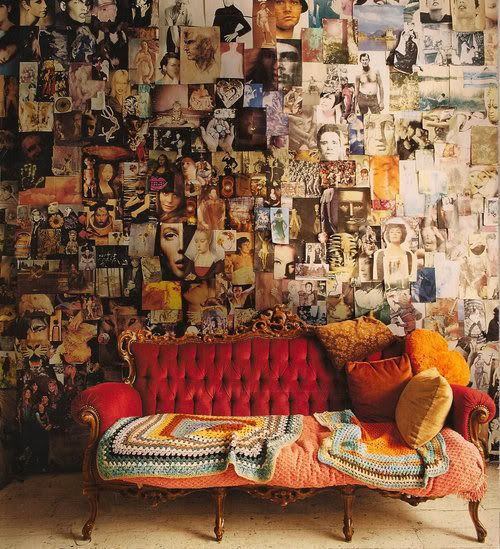 the collage is very daring, but there is something about it i kinda like.  oh, and of course i am dying for the vintage sofa :)