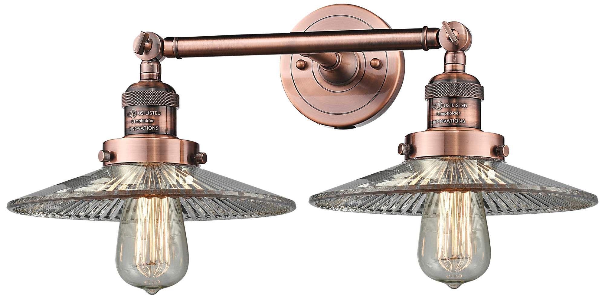 Sconces Halophane 7 H Antique Copper 2 Light Adjustable Wall Sconce Adjustable Wall Sconce Copper Light Fixture Copper Lighting