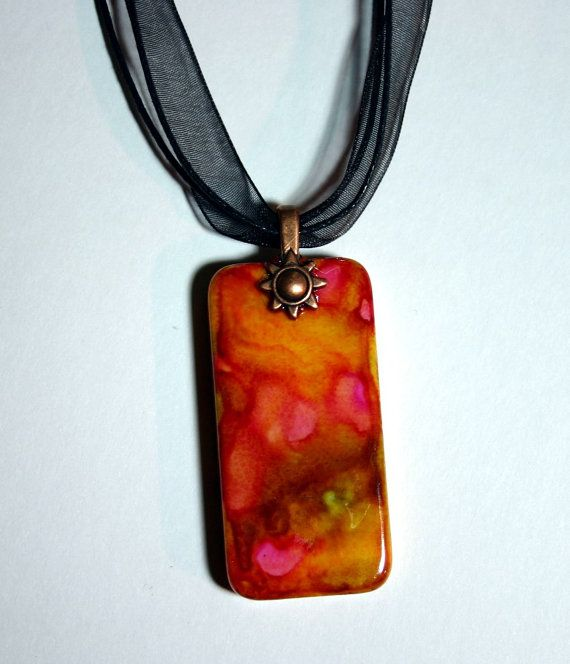Alcohol ink pendant domino pendant necklace domino necklace alcohol ink pendant domino pendant necklace domino necklace hand painted aloadofball Image collections