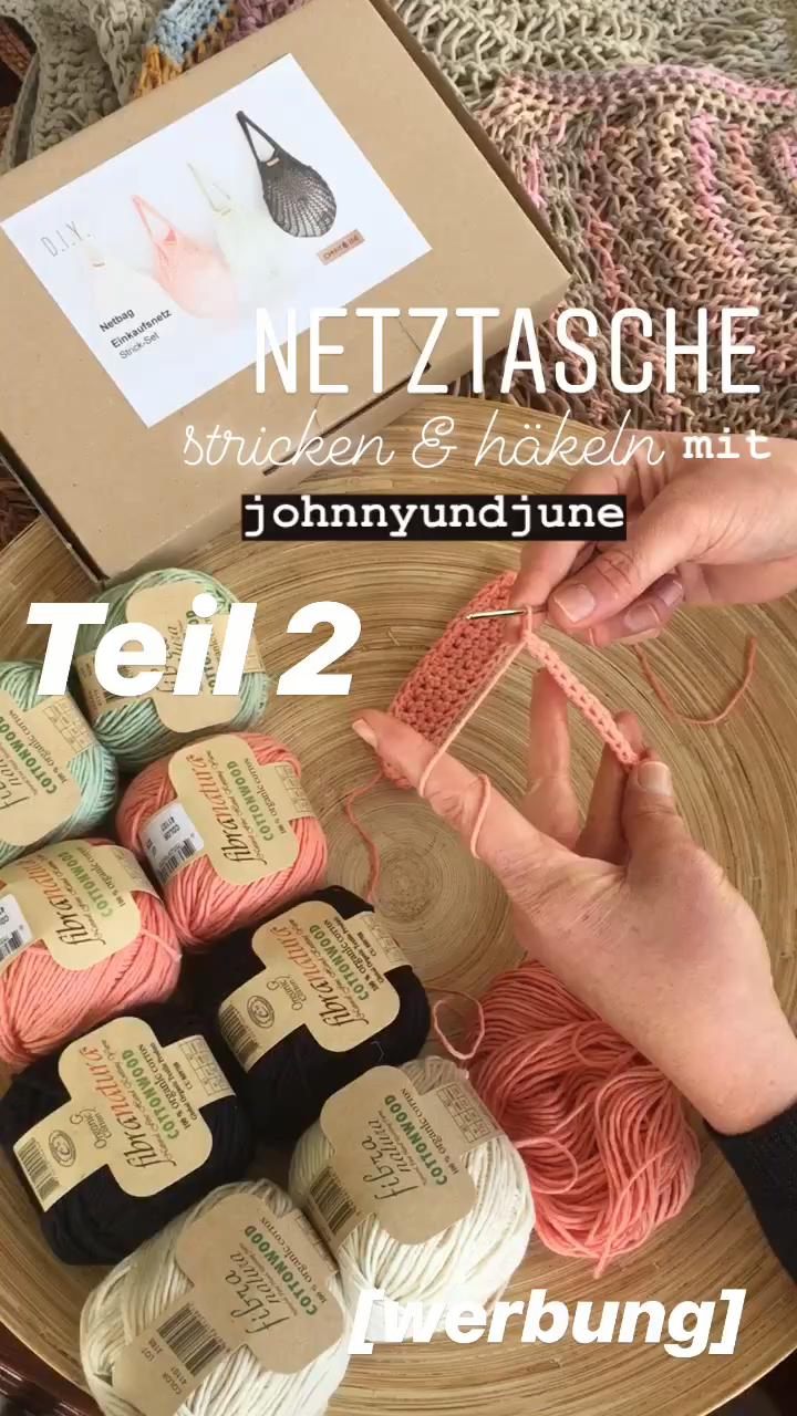 Photo of Anleitung zum Herunterladen für Strick- und Nähprojekte Shopping net Einkaufstasche Clutch Loops Mesh Bag