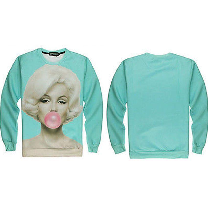 3753e77a6ca5 3D Printed Sweatshirts Marilyn Monroe Blowing Bubble Women Pullover T-Shirt  Tops