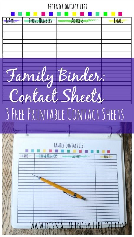 Printable Contact List Mesmerizing Family Binder Printable Contact Sheets  Organizing  Pinterest .