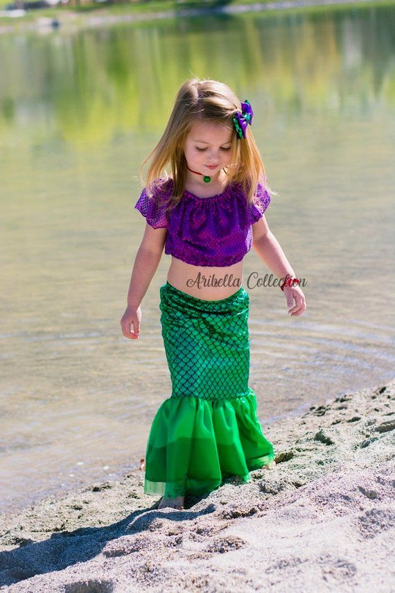 13834dd6fe2 Mermaid Costume Girls Fish Scale Tail Skirt Confetti Dot Crop Top ...