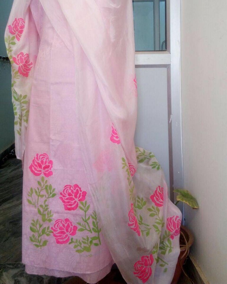 Hand Paint With Stencil On Baby Pink Colour Punjabi Suit