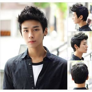 f70bff351b3 Vogue-Sexy-Korean-Handsome-Men-Black-Short-Hair-Cosplay-Party-Hair-Wig-Full- Wigs