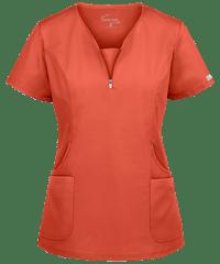 UA Butter-Soft STRETCH Curved Neck Zipper Scrub Top | Fashion Scrubs
