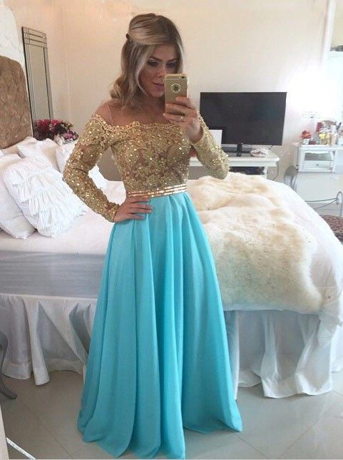 Fabulous Off Shoulder Floor-length Chiffon Beading Illusion ...