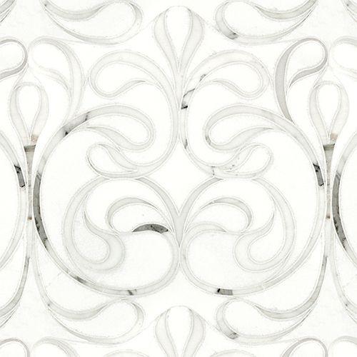 Artistic Tile Danse Blanc Polished Water Jet Mosaic 13 3 4 X