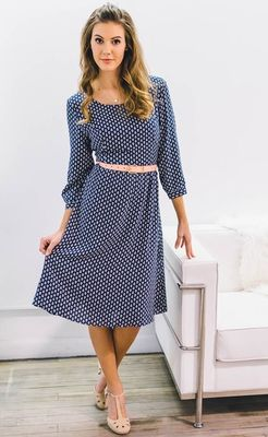 """Teryn"" Modest Dress in Navy Blue w/White Leaf Print"