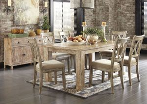 Best Mestler Washed Brown Rectangular Dining Table W 6 Antique 400 x 300