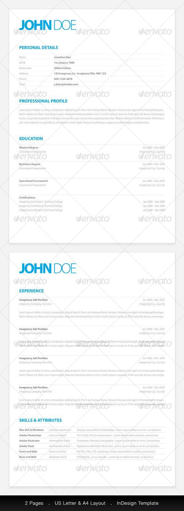 Currículum Limpio y Elegante | diseño | Pinterest | Currículum y ...