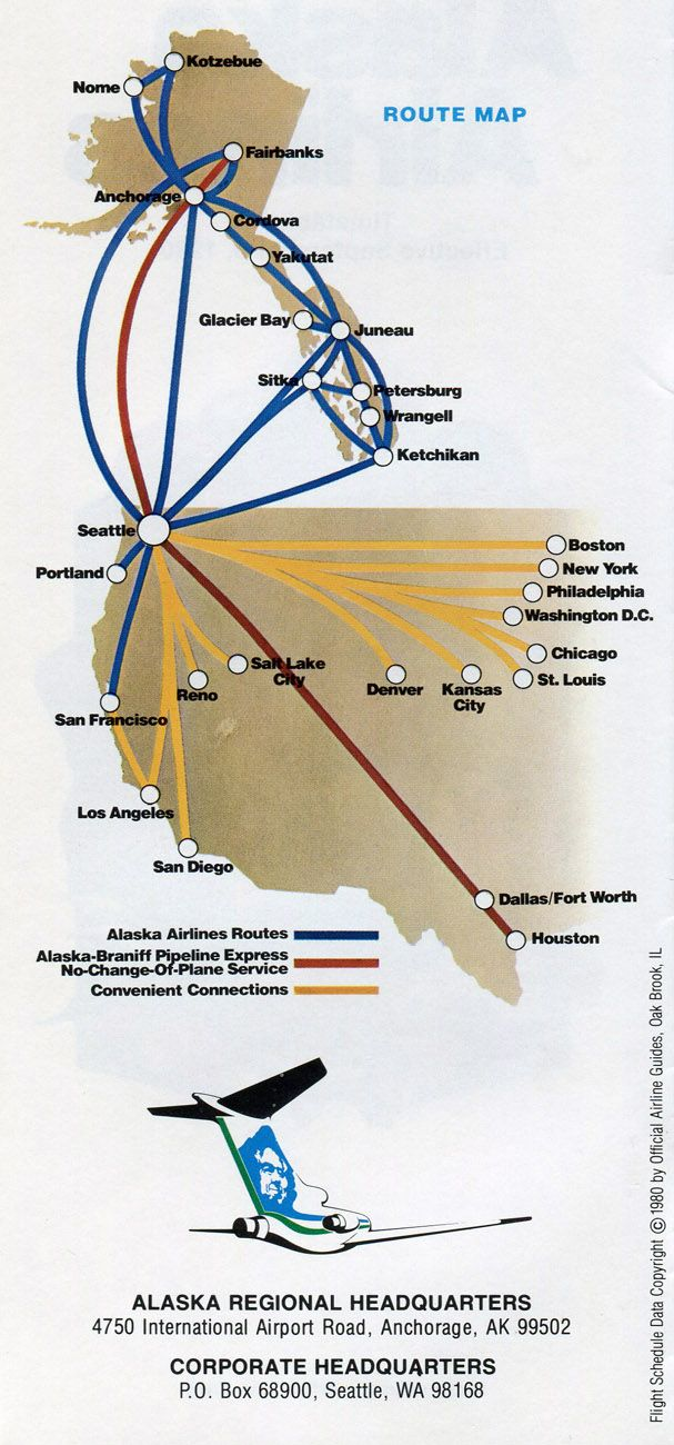 Alaska Airlines 1980 route map | Alaska airlines, Airline ...