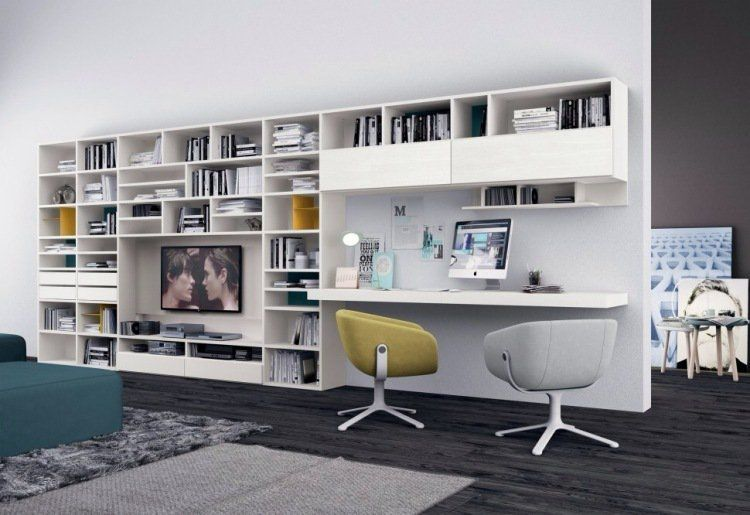 bureau domicile moderne am nagement et d coration la biblioth que bureau et salon. Black Bedroom Furniture Sets. Home Design Ideas