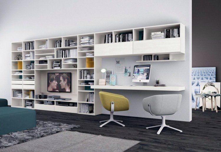 bureau a domicile comme partie de la bibliotheque de salon plus