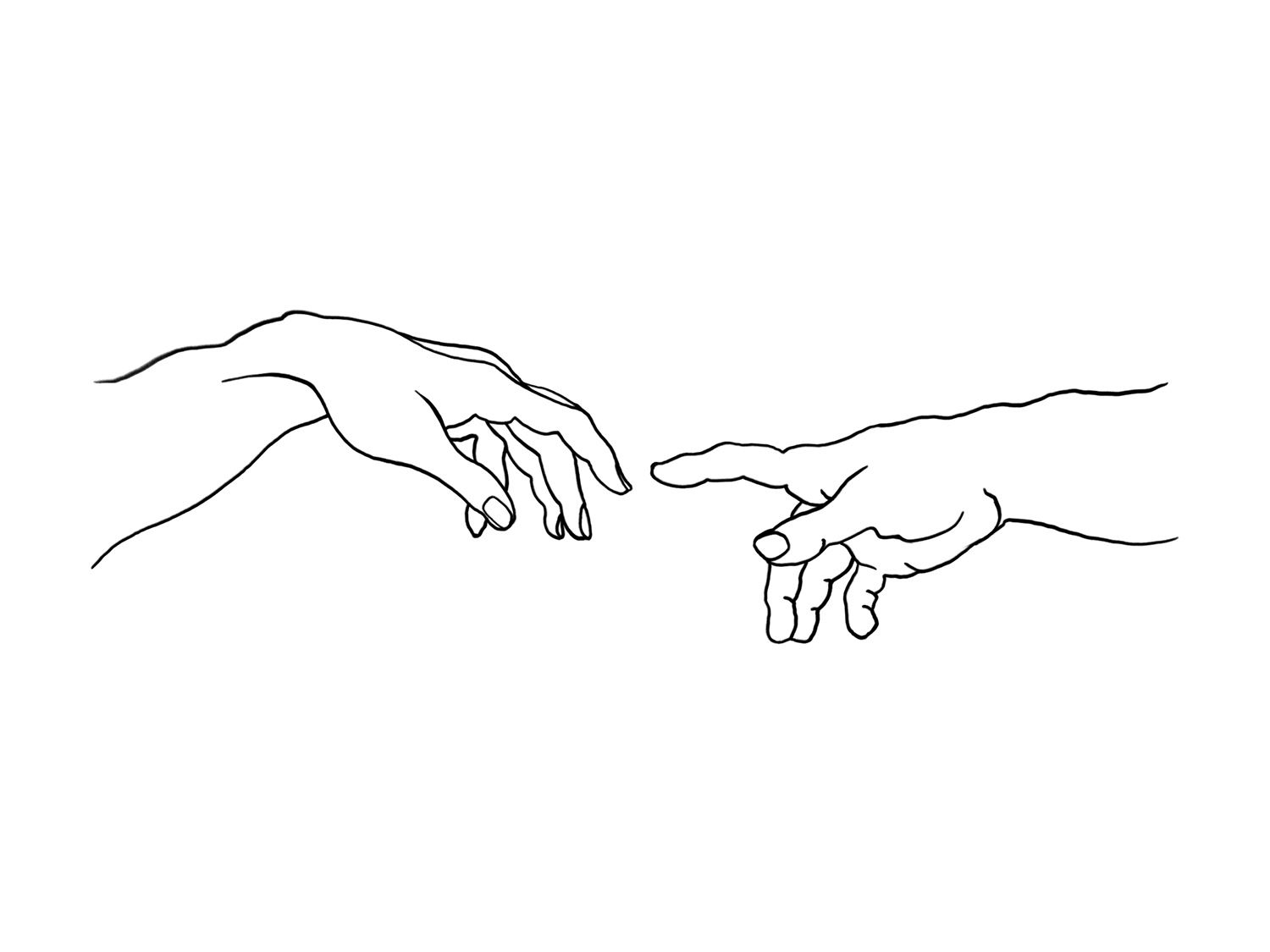 The Creation of Adam Print, Michelangelo Printable, Adam Illustration, One Line Hands Wall Art