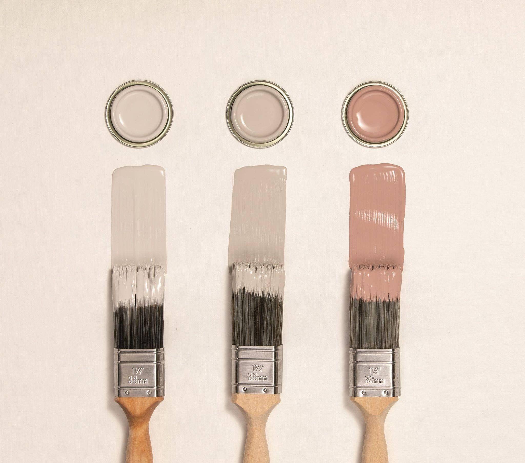 Cornforth White, Purbeck Stone and Sulking Room Pink. All Farrow & Ball