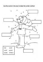 English worksheet: Labeling Winter Clothes | winter | Pinterest ...