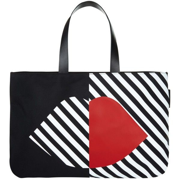 Lulu Guinness 50:50 Lip Larysa Tote Bag, Multi ($110) ❤ liked on Polyvore featuring bags, handbags, tote bags, zippered tote bag, sport tote, nylon tote, handbags purses and nylon zip tote