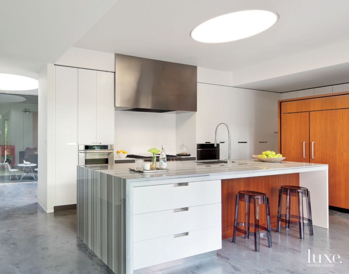 An island sheathed in Marmara white marble from M S International ...
