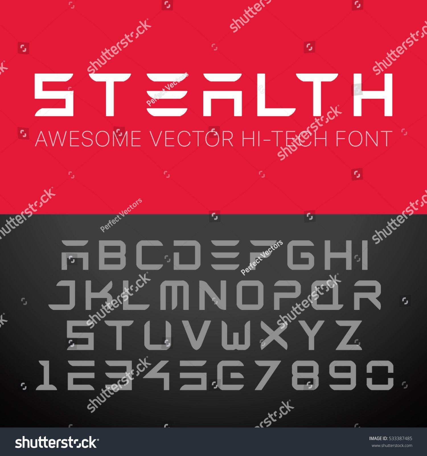 Modern HiTech Font. Vector Techno Alphabet. FontTech