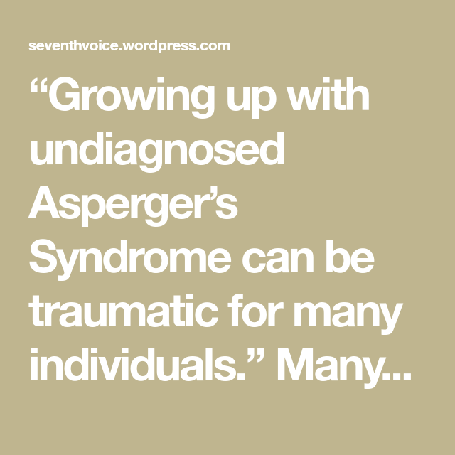 Undiagnosed aspergers adults