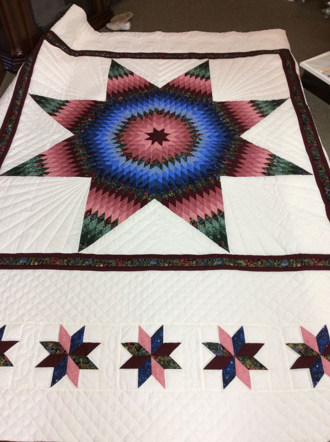 Traditional Hand Quilting Patterns : Lonestar Heirloom Quality Amish Made Quilt Handmade Hand Quilted by AlmaSueShop on Etsy ...