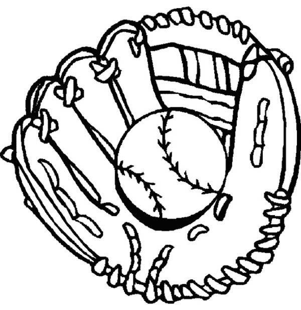 baseball glove and baseball coloring page