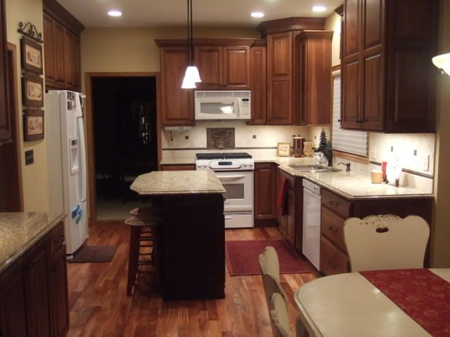 Cherry Cabinets White Appliances