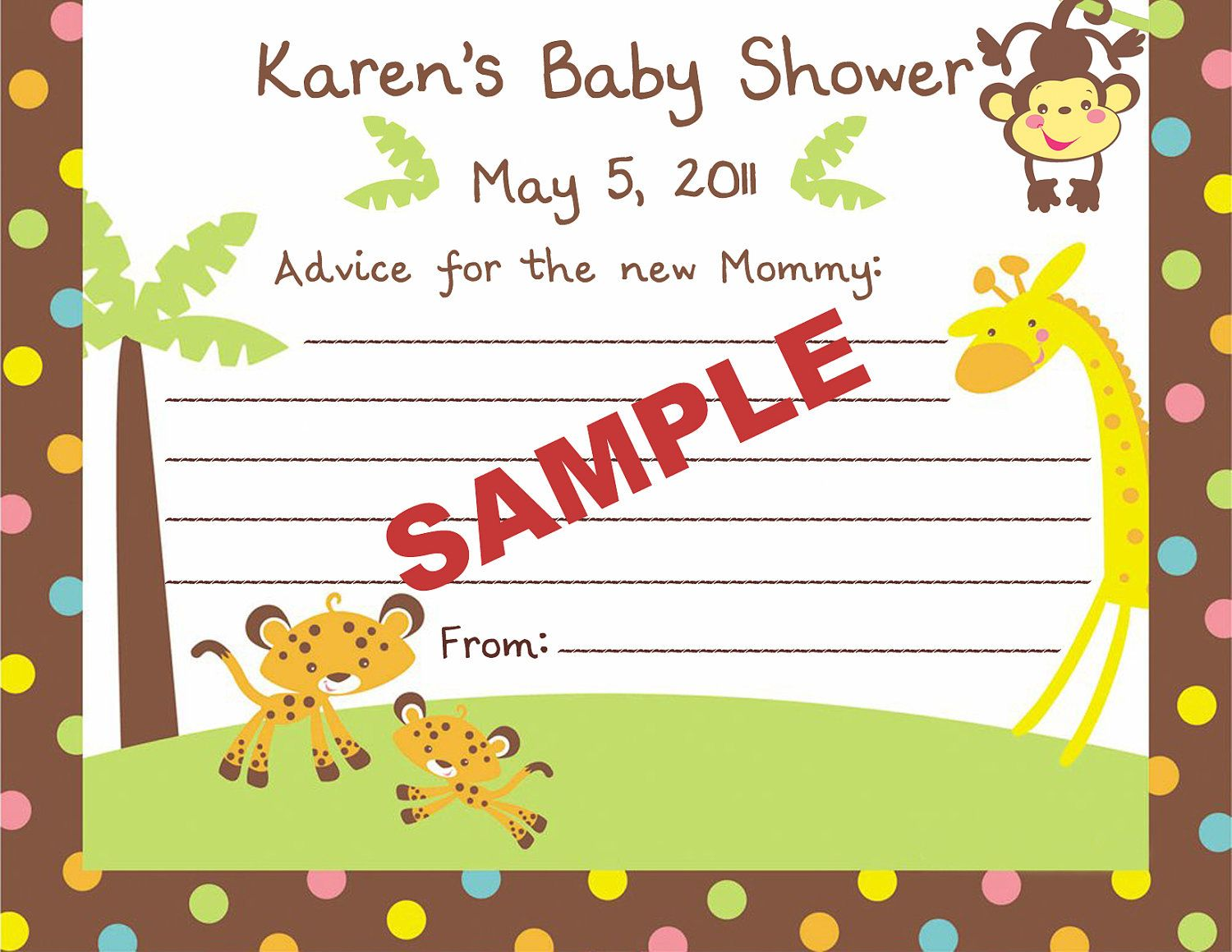 24 Printed Personalized Fisher Price Safari Jungle Baby Shower Advice  Cards. $9.99, Via Etsy
