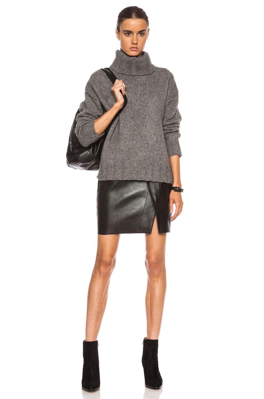 Nili Lotan Turtleneck Oversized Wool-Blend Sweater in Medium Grey | FWRD [5]