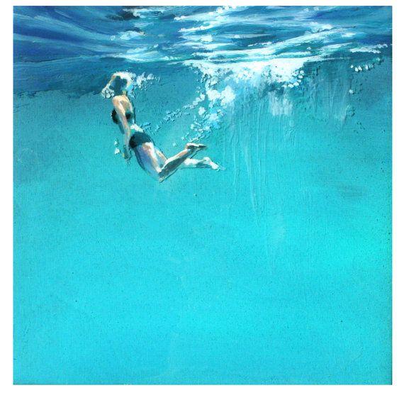 Pintura del arte de imprimir océano titulado nadador por scoutcuomo