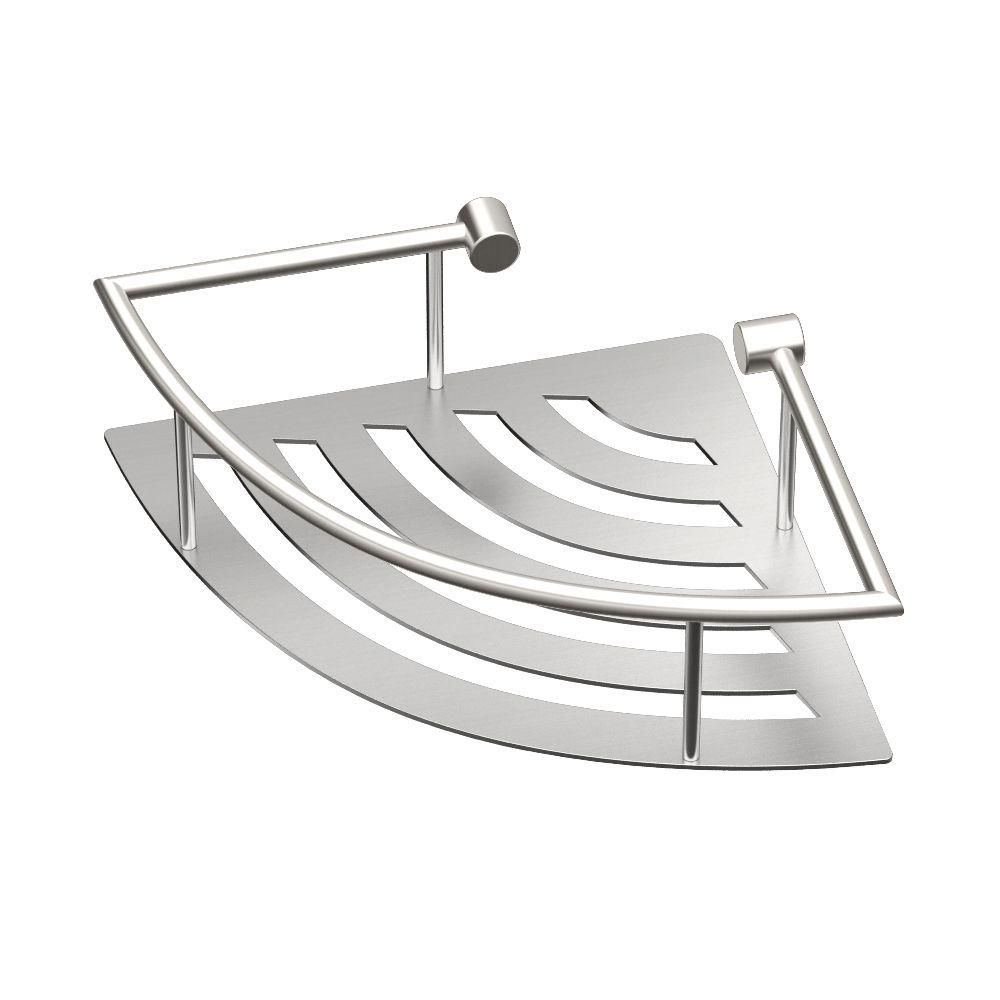 Gatco 11 In W Elegant Corner Shelf In Brushed Nickel Shower
