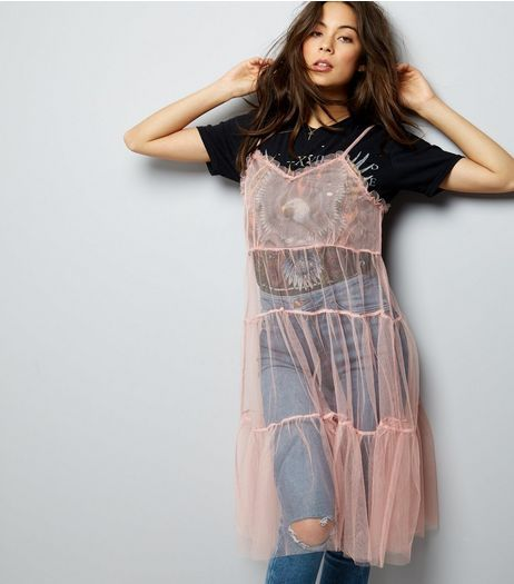 Mid Pink Strappy Mesh Slip Dress | New Look