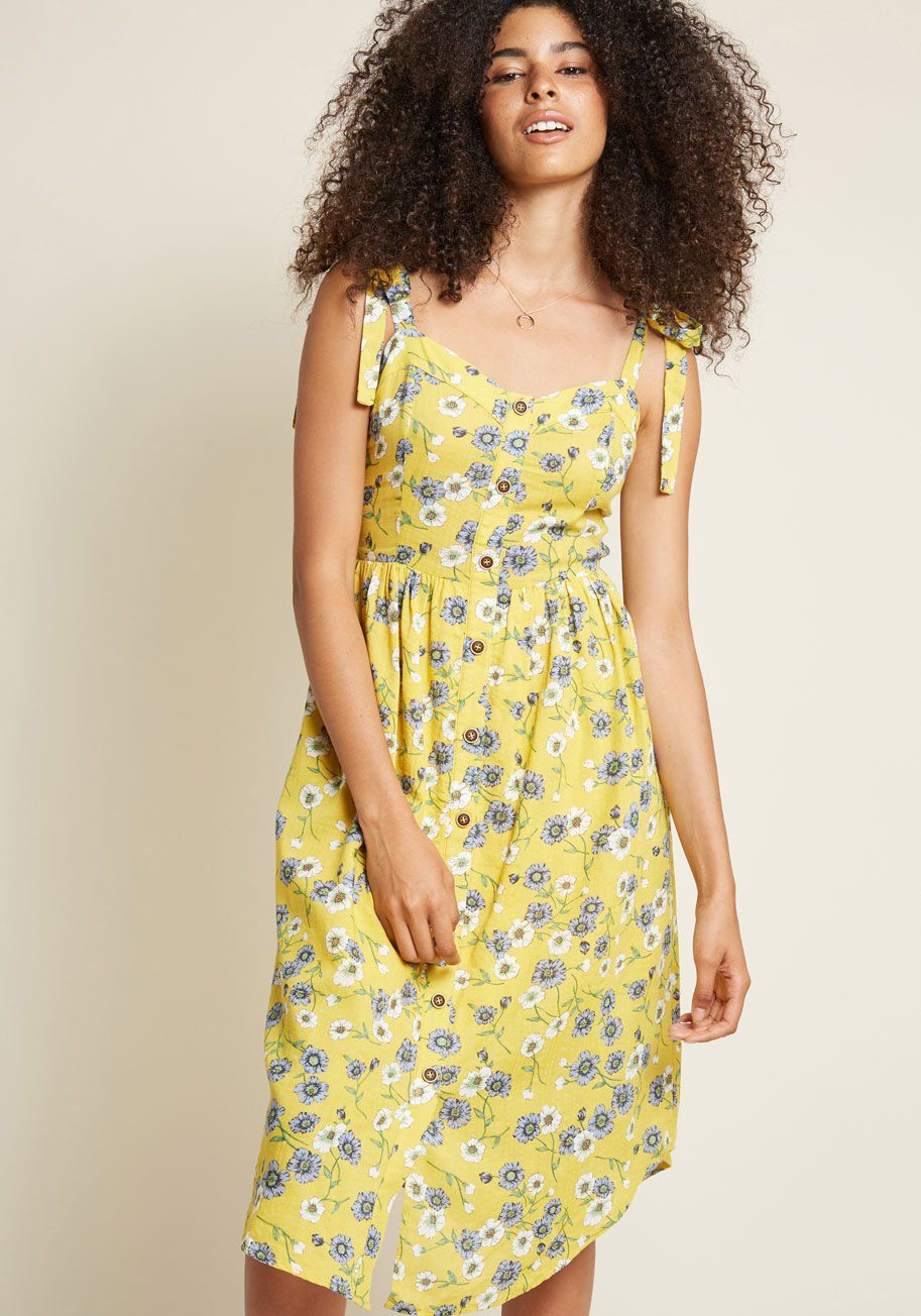 b7ac5c3b5354 Ideally Alfresco Midi Sundress - Once this yellow sundress makes its way  into your wardrobe, you'll amend all plans to take place outdoors, just so  you can ...
