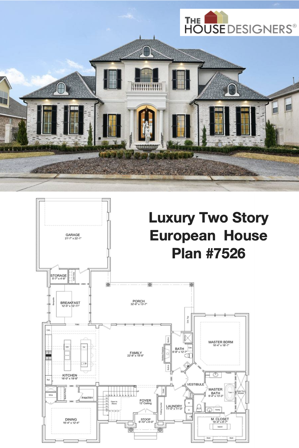 Luxury Two Story European Style House Plan 7526 Jolie Beautiful House Plans French House Plans Mansion Floor Plan
